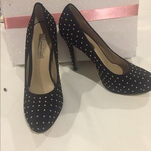 Suede studded pumps